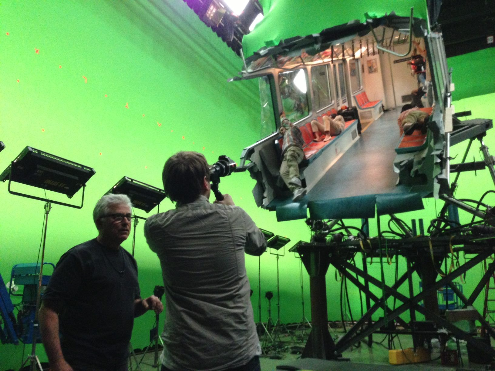 A Subway Gets Ripped Open on the Set of Godzilla