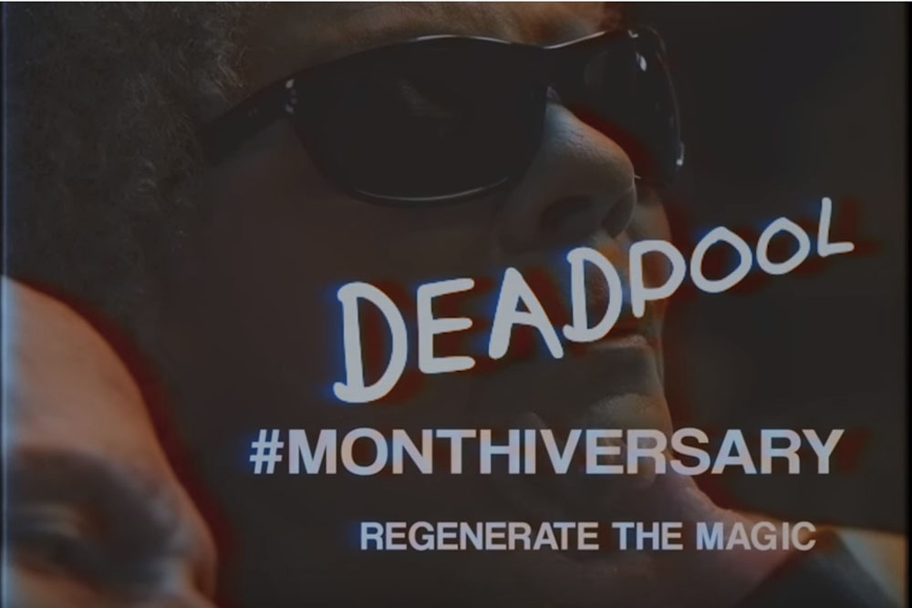 With the Merch with a Mouth's movie having been released in theaters in February, Fox is now celebrating the Deadpool Monthiversary with a new trailer.