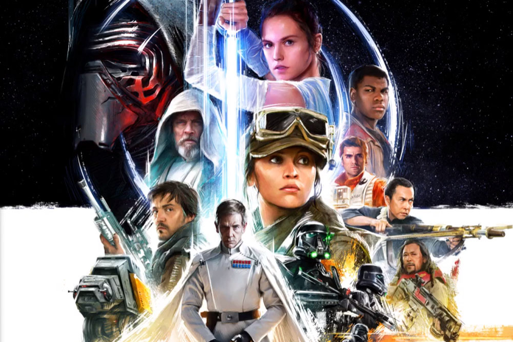 Check out the official Star Wars Celebration 2016 poster, which blends characters from Rogue One: A Star Wars Story with familiar Saga faces.