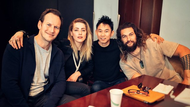The Aquaman cast (Jason Momoa, Amber Heard and Patrick Wilson) joined director James Wan for a read-through today. Check out the photo they shared!