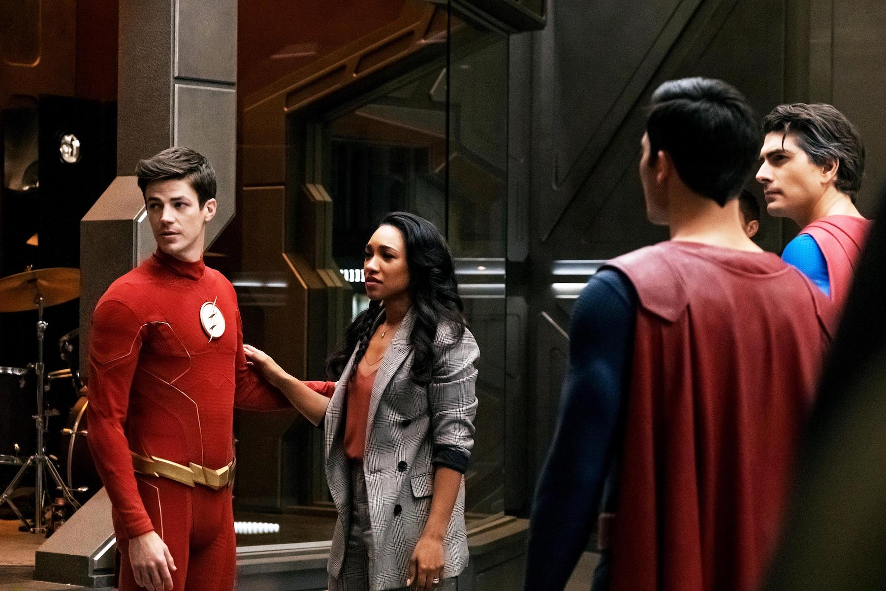 Grant Gustin as Barry Allen/The Flash, Candice Patton as Iris West-Allen, Tyler Hoechlin as Superman and Brandon Routh as Superman