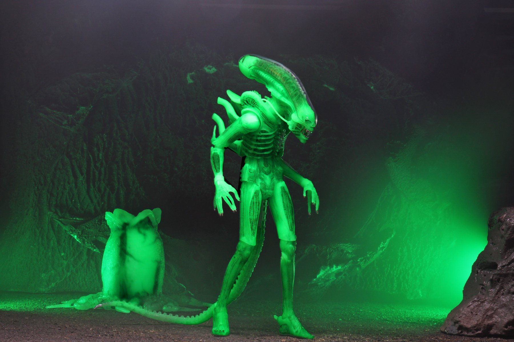 Alien and egg glowing