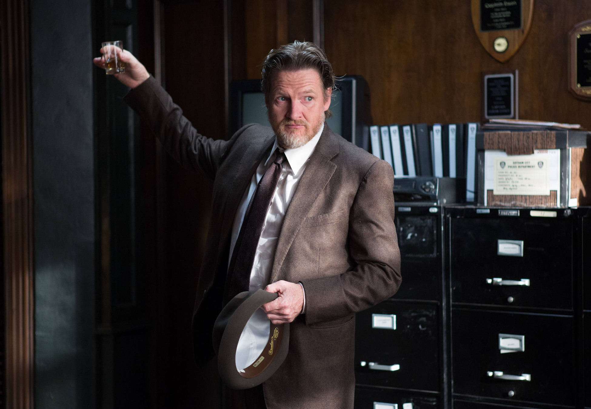"""GOTHAM: Detective Bullock (Donal Logue) celebrates a victory in the """"Selina Kyle"""" episode of GOTHAM airing Monday, Sept. 29 (8:00-9:00 PM ET/PT) on FOX. ©2014 Fox Broadcasting Co. Cr: Jessica Miglio/FOX"""