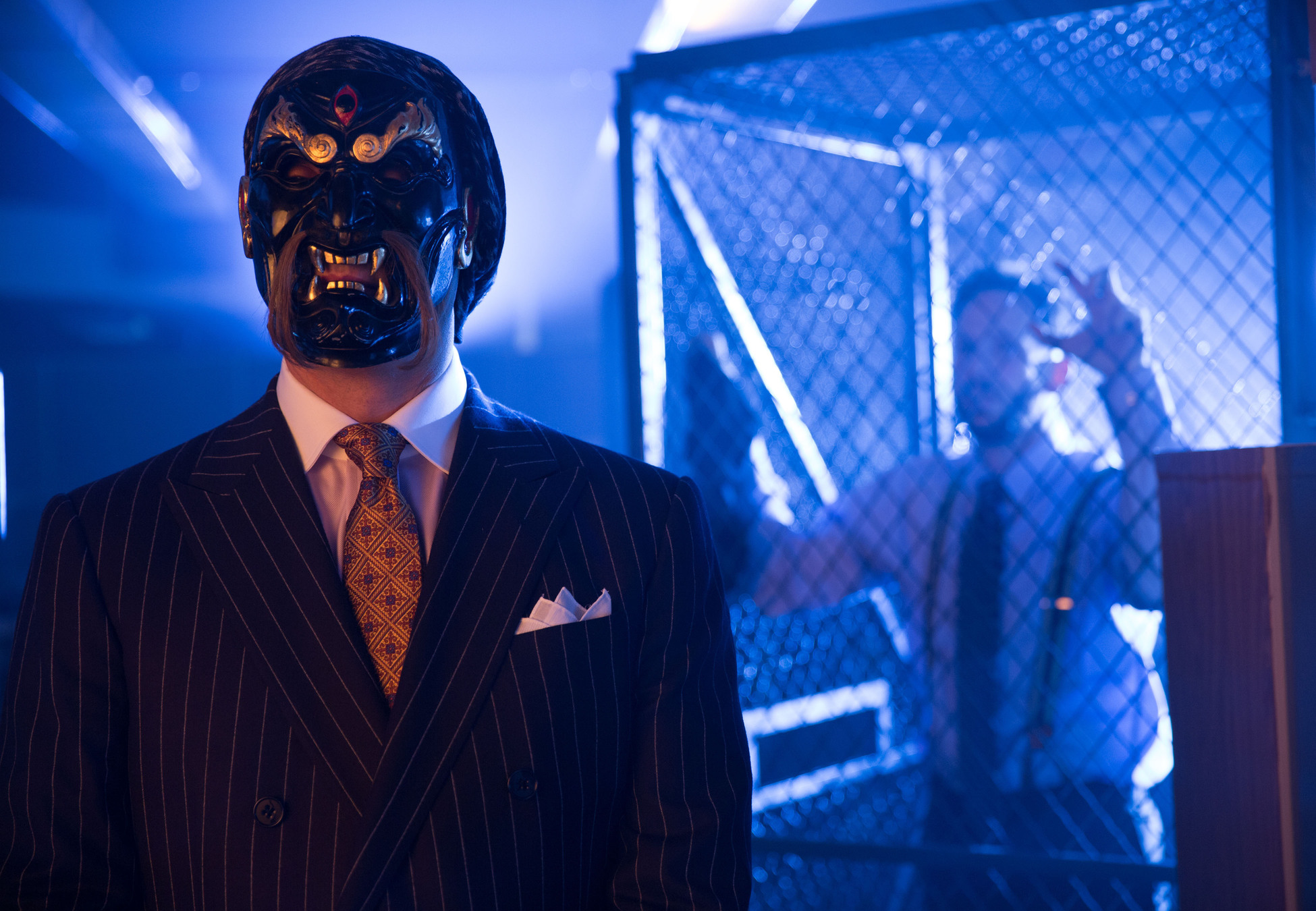 """GOTHAM: Richard Sionis (guest star Todd Stashwick, L) runs a deadly fight club for candidates applying to work at his financial firm in the """"The Mask"""" episode of GOTHAM airing Monday, Nov. 10 (8:00-9:00 PM ET/PT) on FOX. ©2014 Fox Broadcasting Co. Cr: Jessica Miglio/FOX"""