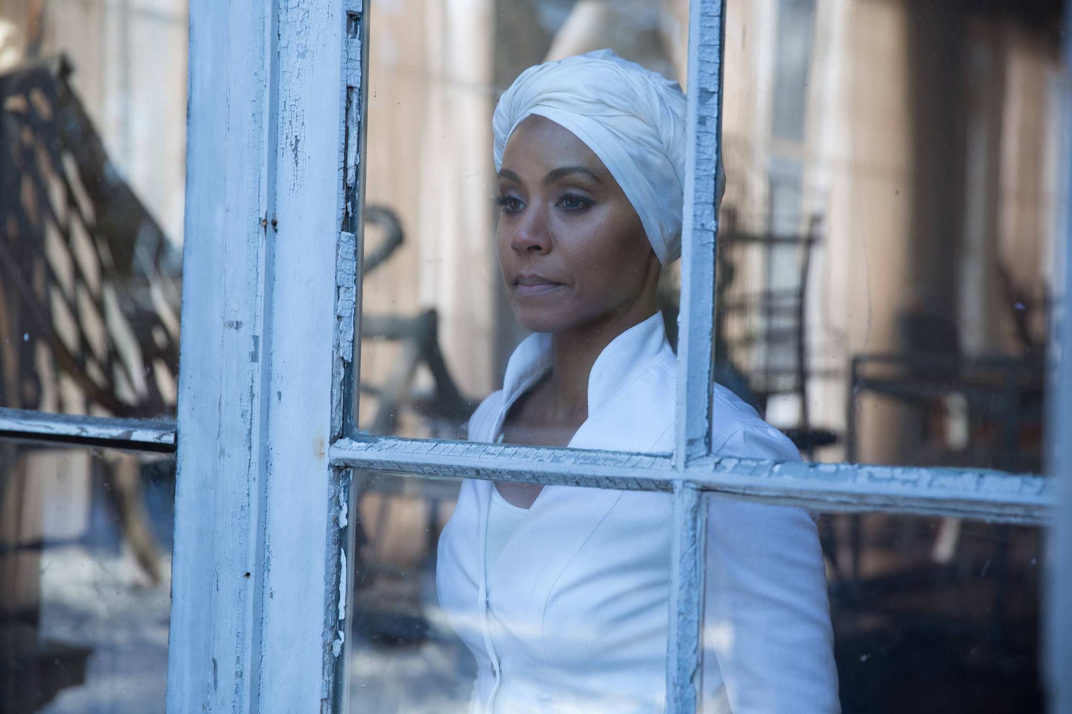 """GOTHAM: Fish Mooney (Jada Pinkett Smith) contemplates her fate in the """"Beasts of Prey"""" episode of GOTHAM airing Monday, April 13 (8:00-9:00 PM ET/PT) on FOX. ©2015 Fox Broadcasting Co. Cr: Jessica Miglio/FOX"""