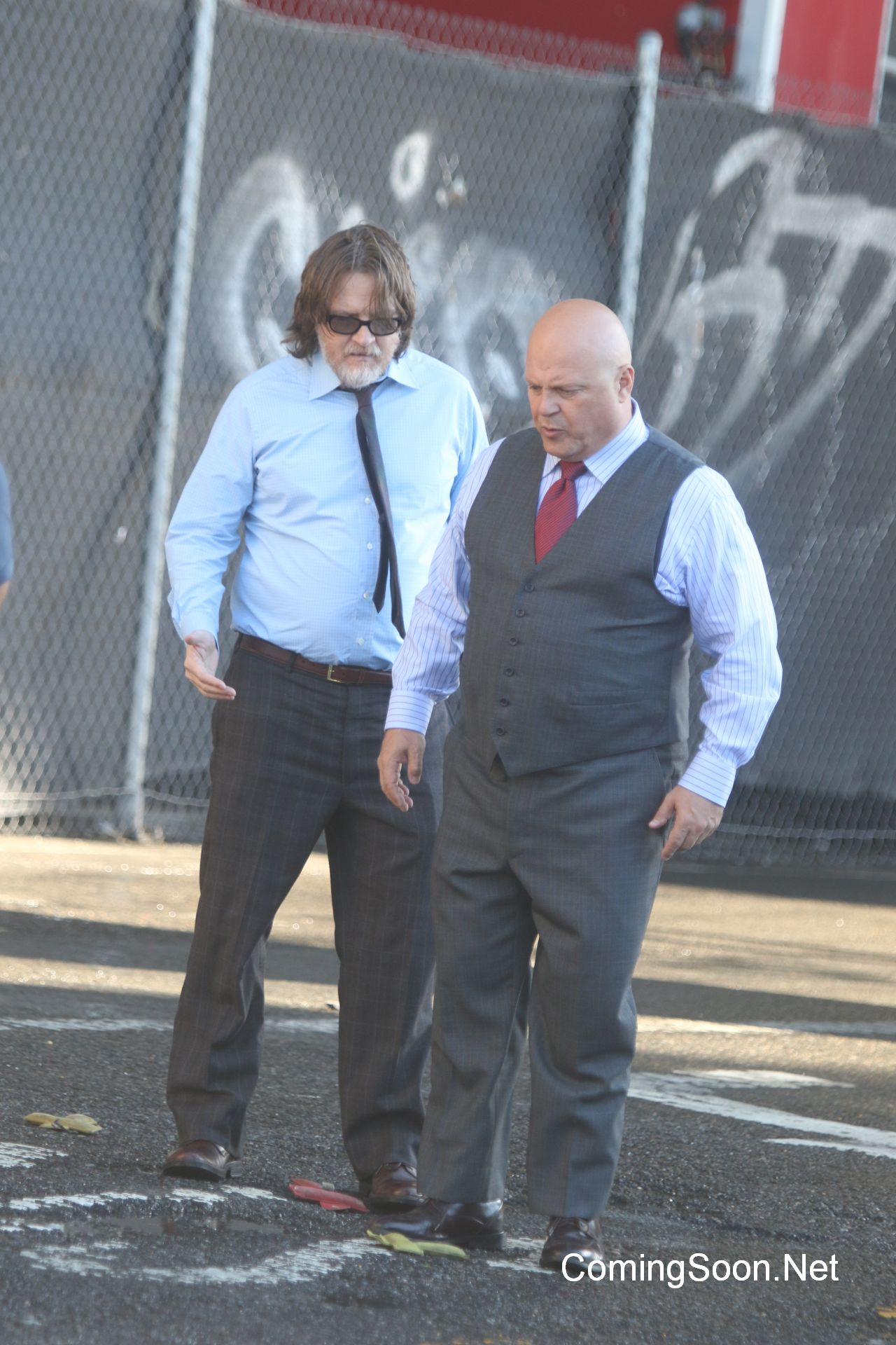 Actors are on set for the filming of 'Gotham' tv showFeaturing: Michael Chiklis, Donal LogueWhere: New York City, New York, United StatesWhen: 23 Aug 2016Credit: Macguyver/WENN.com