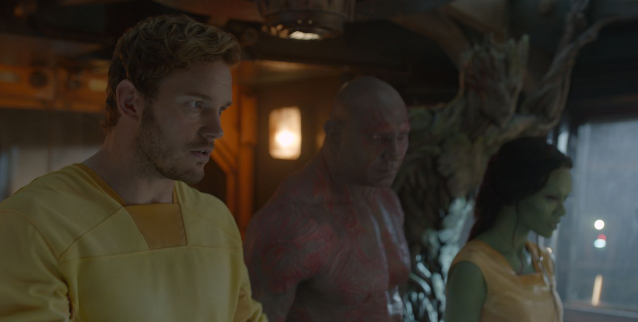 Marvel's Guardians Of The Galaxy L to R: Star-Lord/Peter Quill (Chris Pratt), Drax the Destroyer (Dave Bautista), Groot (Voiced by Vin Diesel) and Gamora (Zoe Saldana). Ph: Film Frame ©Marvel 2014