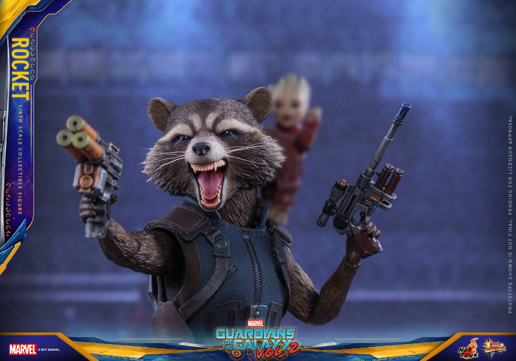 Rocket Raccoon Hot Toy From Guardians Of The Galaxy Vol 2 Super Deluxe Vinyl Figure 1 6th Scale Collectible