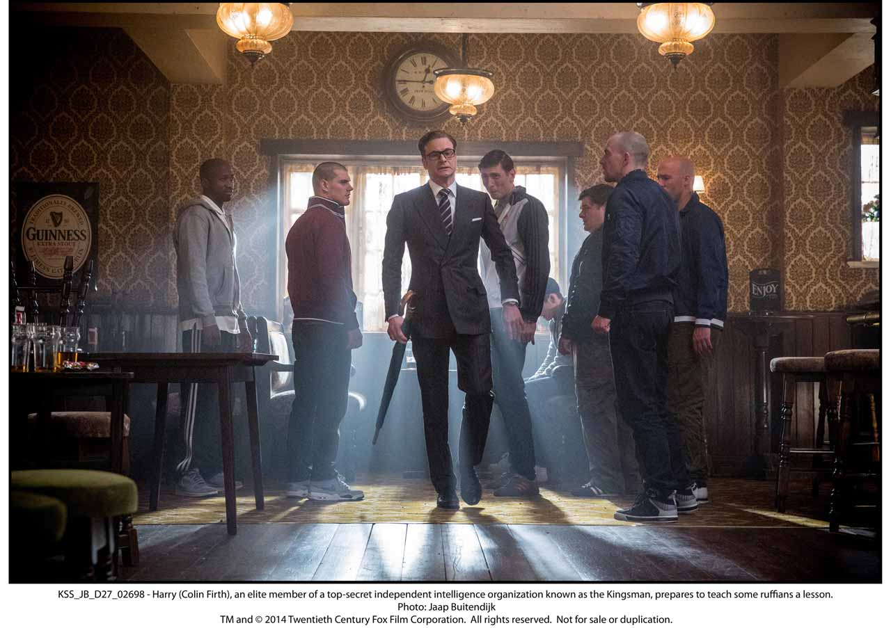 KSS_JB_D27_02698 - Harry (Colin Firth), an elite member of a top-secret independent intelligence organization known as the Kingsman, prepares to teach some ruffians a lesson.