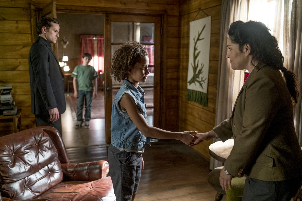 Nathan Darrow as John Custer, Dominic Ruggieri as Young Jesse, Ashley Aufderheide as Young Tulip, TDHS Worker- Preacher _ Season 1, Episode 6 - Photo Credit: Lewis Jacobs/Sony Pictures Television/AMC