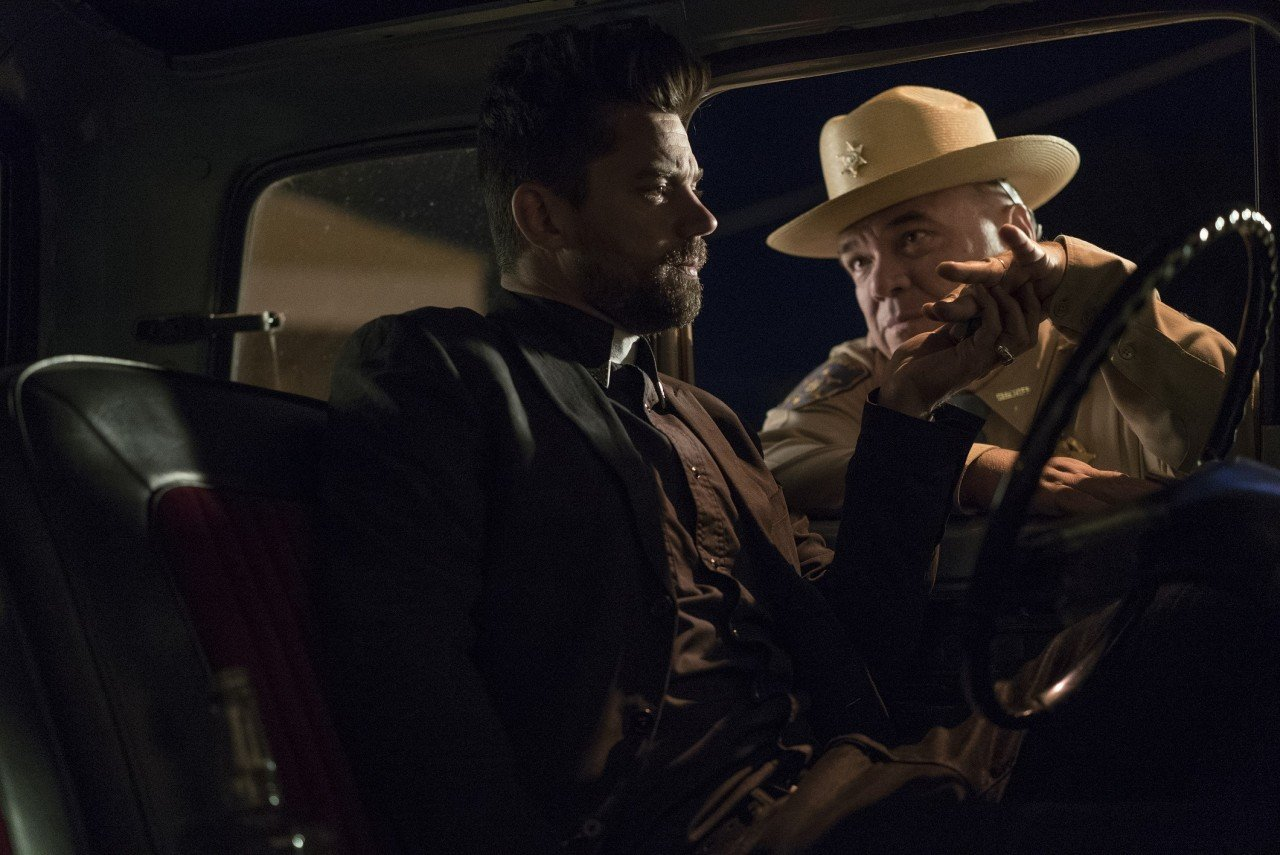 Dominic Cooper as Jesse Custer, W. Earl Brown as Hugo Root - Preacher _ Season 1, Pilot - Photo Credit: Lewis Jacobs/AMC