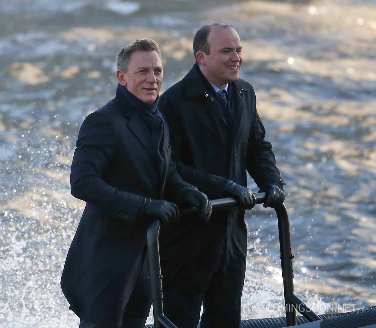 Daniel Craig and Rory Kinnear film a scene for the new Bond movie Spectre on the River Thames in London Featuring: Daniel Craig, Rory Kinnear Where: London, United Kingdom When: 15 Dec 2014 Credit: WENN.com