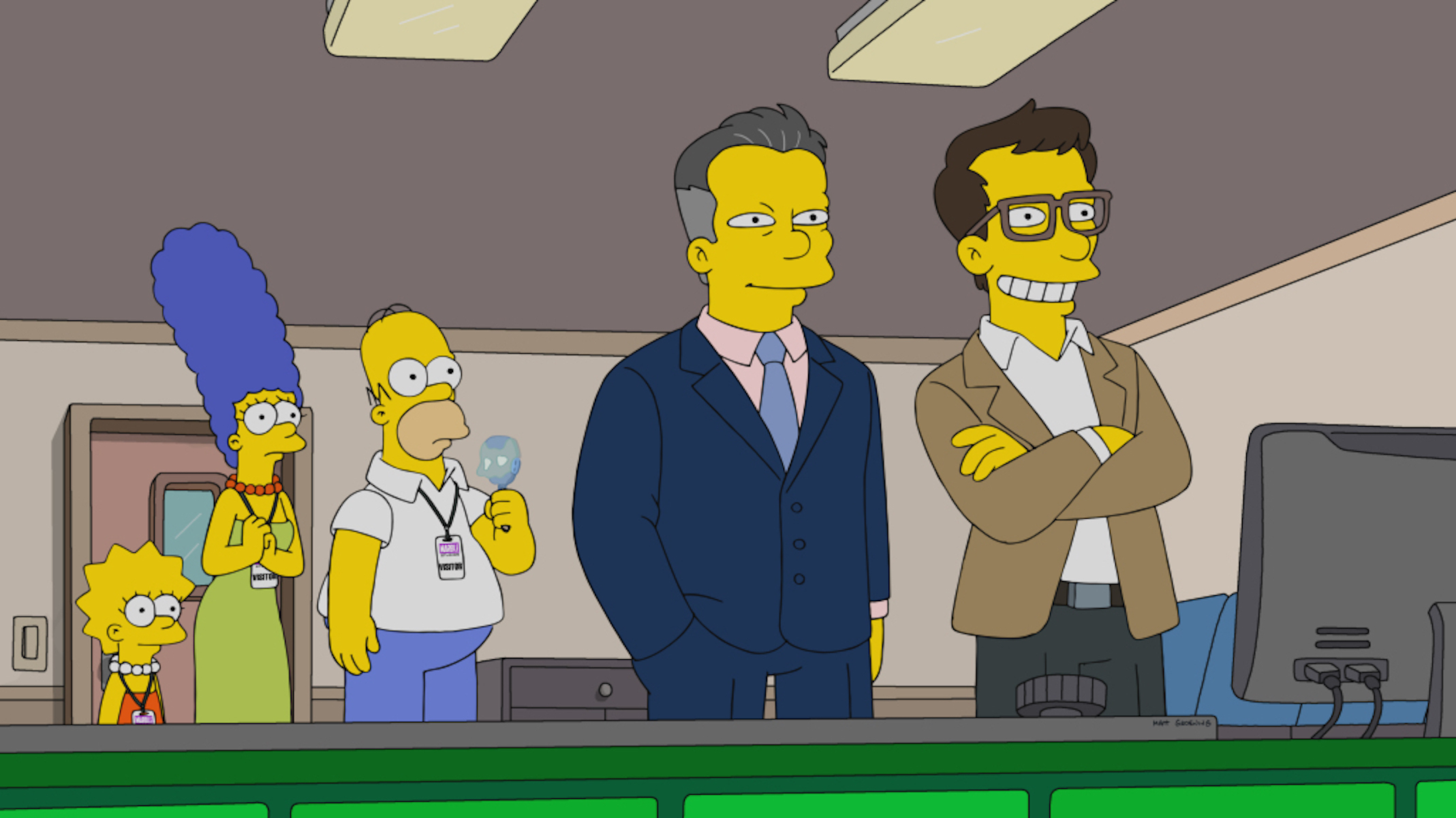 Lisa, Marge, Homer, and two movie executives (Joe and Anthony Russo)