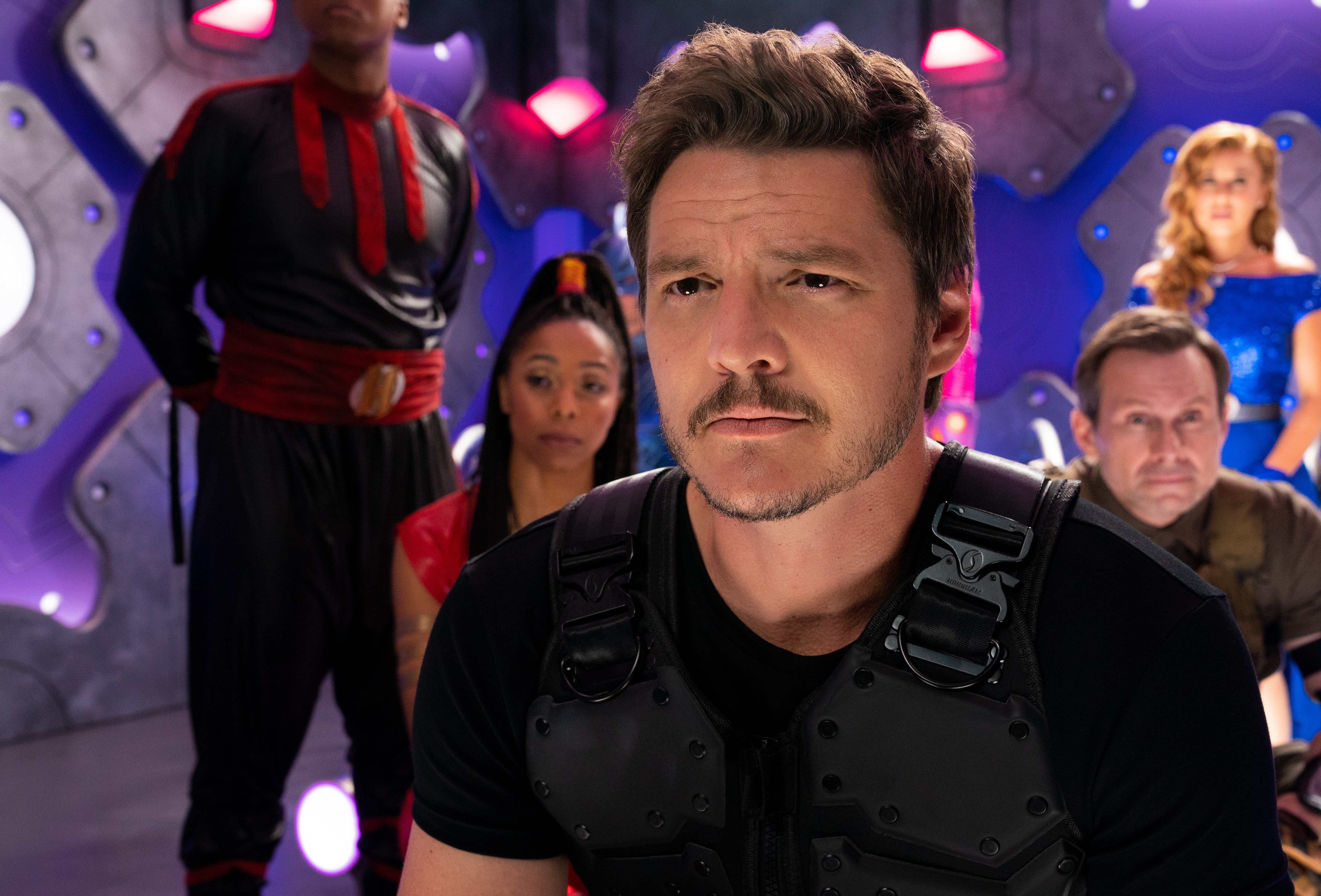 Quinton Johnson as Crimson Legend, Brittany Perry-Russell as Red Lightening Fury, Pedro Pascal as Marcus Moreno, Christian Slater as Tech-No, Haley Reinhart as Ms. Vox.